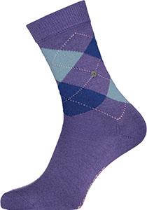 Burlington Marylebone damessokken, wol,  paars met blauw