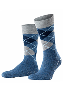 Burlington Argyle Heren Huissokken, blauw geruit