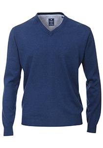 Redmond heren trui katoen, V-hals, jeans-blauw