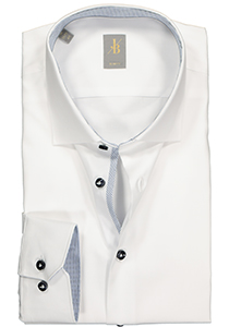 Jacques Britt overhemd, Como slim fit, twill, wit (contrast)