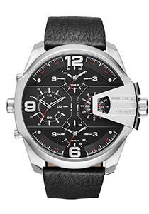 Diesel Uber Chief heren horloge (56mm), zilver en zwart met zwart leren band