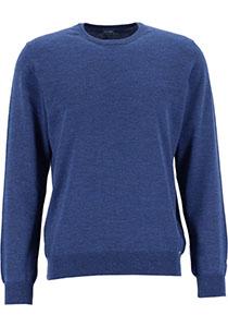 OLYMP modern fit trui wol, O-hals, jeansblauw
