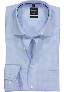 OLYMP Luxor modern fit overhemd, lichtblauw met wit geruit (contrast)