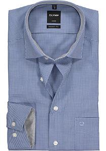 OLYMP Luxor Modern Fit overhemd, donkerblauw met wit geruit (contrast)