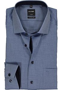 OLYMP Luxor Modern Fit overhemd, donker blauw natté (contrast)