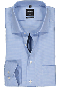 OLYMP Luxor Modern Fit overhemd, blauw motief (contrast)