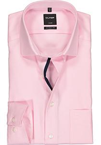 OLYMP Luxor modern fit overhemd, roze met wit mini dessin (contrast)