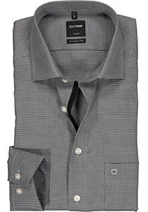 OLYMP Luxor Modern Fit overhemd, antraciet grijs motief (contrast)