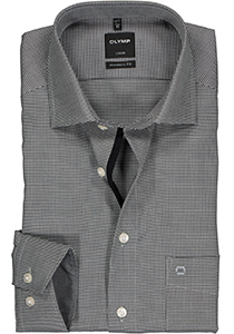 OLYMP Luxor Modern Fit overhemd, mouwlengte 7, antraciet grijs motief