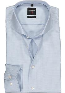 OLYMP Level 5 body fit overhemd, lichtblauw met wit mini dessin in diamant twill