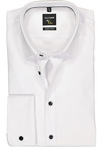 OLYMP No. 6 Six Super Slim Fit overhemd, dubbele manchet, wit met zwarte knoopjes