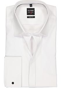 OLYMP Level Body Fit overhemd, Smoking overhemd, mouwlengte 7, wit gladde stof (Kent kraag)