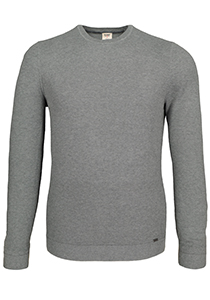 OLYMP Level 5 Body Fit heren trui, katoen O-hals, grijs structuur