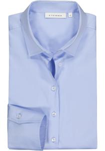 Eterna dames blouse Modern Classic stretch satijnbinding, lichtblauw