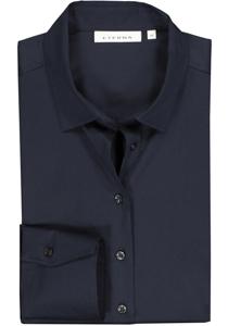 Eterna dames blouse Modern Classic stretch satijnbinding, donkerblauw