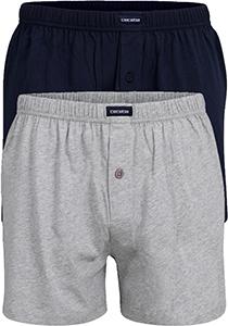 Ceceba heren boxershorts wijd (2-pack), grijs en blauw