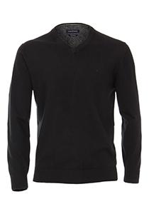 Casa Moda heren trui katoen, V-hals, zwart