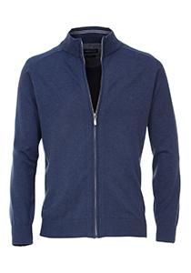 Casa Moda heren vest katoen, blauw (met rits)
