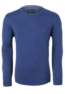 Casa Moda heren trui katoen O-hals, jeansblauw