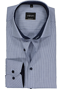 Venti Modern Fit overhemd, blauw dessin structuur (contrast)