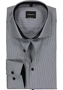 Venti Modern Fit overhemd, grijs dessin structuur (contrast)