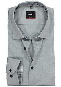 Venti Body Fit overhemd, grijs (contrast)