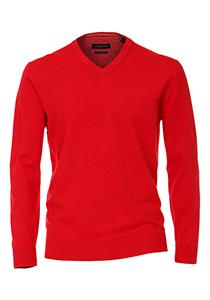 Casa Moda heren trui katoen V-hals, rood