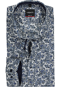 Venti Body Fit overhemd, blauw paisley dessin (contrast)