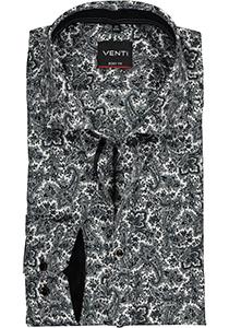 VENTI body fit overhemd, zwart met grijs en wit paisley dessin (contrast)