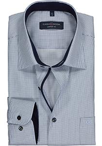 Casa Moda Comfort Fit overhemd, blauw met wit gestreept structuur  (contrast)