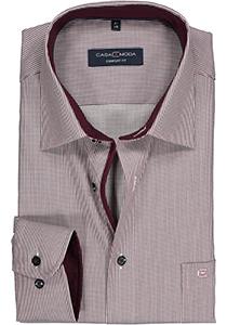Casa Moda Comfort Fit overhemd, blauw met rood en wit gestreept structuur  (contrast)