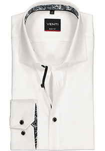 VENTI body fit overhemd, wit structuur (zwart contrast)