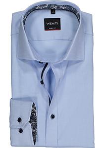 VENTI body fit overhemd, lichtblauw structuur (contrast)