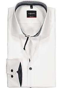 VENTI body fit overhemd, wit twill (zwart contrast)