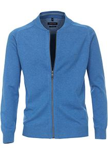 Casa Moda heren vest katoen, kobalt blauw (met rits)