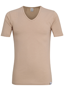 Gotzburg heren T-shirt slim fit V-hals 95/5 (1-pack), stretch ondershirt, huidskleur