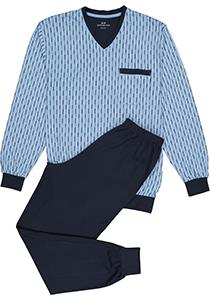Gotzburg heren pyjama, V-hals, lichtblauw met blauw en wit dessin