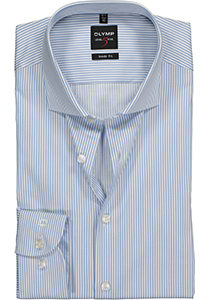 OLYMP Level 5 body fit overhemd, lichtblauw met wit gestreept twill
