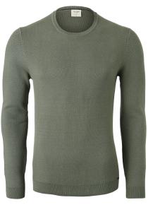 OLYMP Level 5 body fit trui katoen, O-hals, olijfgroen structuur