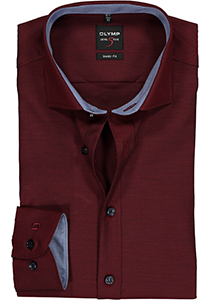 OLYMP Level 5 Body Fit overhemd, bordeaux rood structuur (blauw contrast)