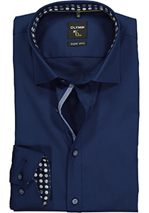 OLYMP No. 6 Six, Super Slim Fit overhemd, donkerblauw structuur (contrast)