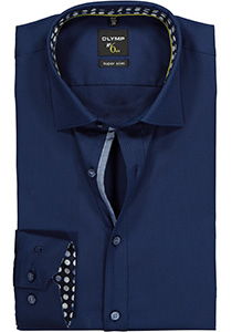 OLYMP No. Six super slim fit overhemd, mouwlengte 7, donkerblauw structuur (contrast)