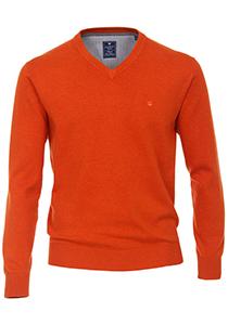 Redmond heren trui katoen V-hals, warm oranje melange