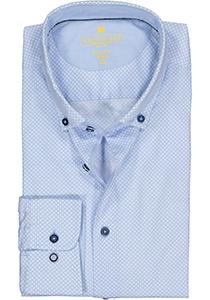 Redmond modern fit overhemd, poplin, lichtblauw met wit gestipt (contrast)
