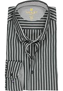 Redmond modern fit overhemd, poplin, antraciet met wit gestreept (contrast)