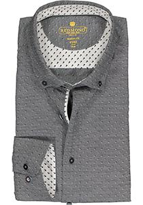 Redmond modern fit overhemd, dobby structuur, zwart met wit mini dessin (contrast)