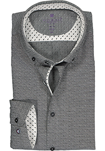 Redmond slim fit overhemd, dobby structuur, zwart met wit mini dessin (contrast)