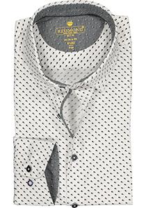 Redmond modern fit overhemd, poplin, wit met zwart en grijs mini dessin (contrast)