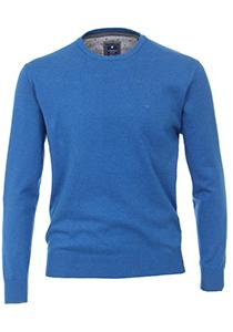Redmond heren trui katoen O-hals, middenblauw