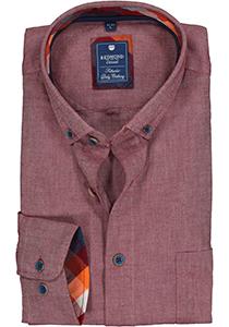 Redmond regular fit overhemd, Oxford, bordeaux rood (contrast)